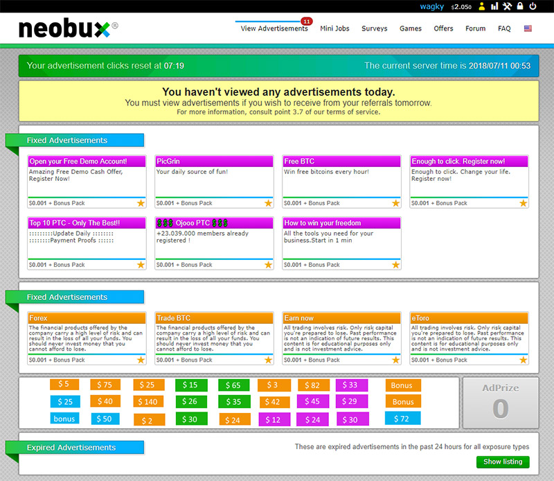 NeoBux-View-Advertisements-Page-Tutorial